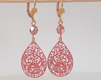 Burnt Orange Earrings, Tangerine Earrings, Orange Drop earrings, Orange Dangle Earrings Vintage Style Retro Jewelry, Filligree Teardrop