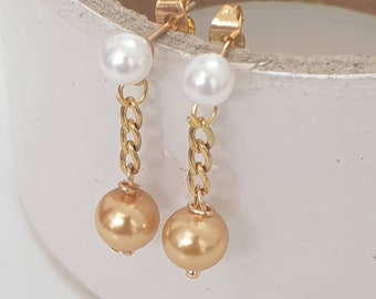 Double Pearl Drop Earrings, Bridemaids Earrings, Champagne Earrings for the Bride, Simulated Pearl Earrings, White Pearl and Golden Pear