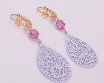 Long Lilac Earrings Prom, Lavender Earrings Dangle Filigree teardrop Earrings, 70s earrings Retro Vintage Style Violet Color Jewelry