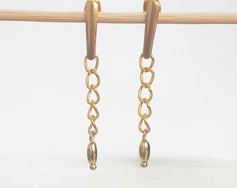 Chain Drop Earrings, Gold Bar Chain Earrings Dangle, Gold Chain Earrings, Drop Chain Stud Earrings, Line Earrings for Girls and Women