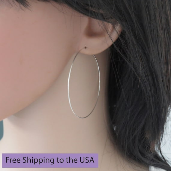 88edabe9ed410 Extra large hoop earrings 2 inch, Big hoop earrings, Large silver hoop  earrings, Thin hoop earrings for women