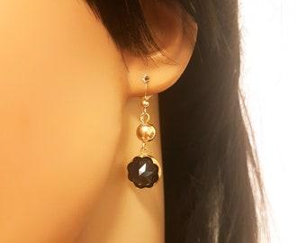 Black Onyx Earrings, Black and Gold Earrings, Gemstone Earrings,Black Stone Earrings, Black Onyx Dangle Earrings, Black Drop Earrings