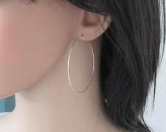 Extra large hoop earrings 2 inch, Big hoop earrings, Large silver hoop earrings