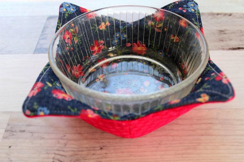 bowl cosy Bowl cozy bowl warmer soup bowl holder Denin floral l bowl cozy microwave bowl cozy