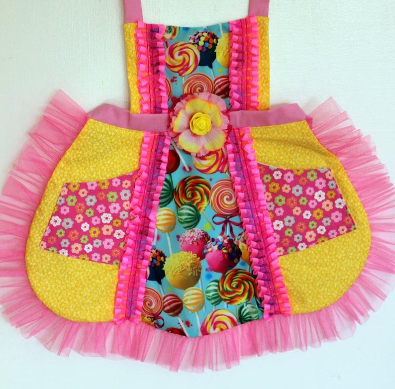 baking apron Girls apron Cake Pops and Candy Apron toddler apron