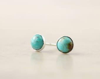 Turquoise stud earrings, Sterling Silver, Dots,  December birthstone jewelry