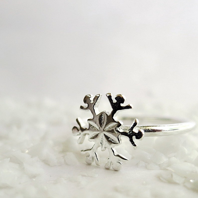 Sterling Silver Winter jewelry Snowflake ring stack ring
