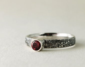 Garnet ring, Sterling Silver, red gemstone, stacking ring, plume pattern, January birthstone jewelry