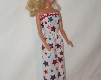 Handmade White Gold Foil Knit Mermaid Barbie Dress for Barbie