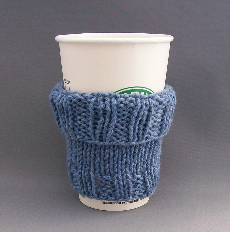 2 in 1 Coffee Cup Cozy Hand Knit Demin Blue fit a Short or image 0