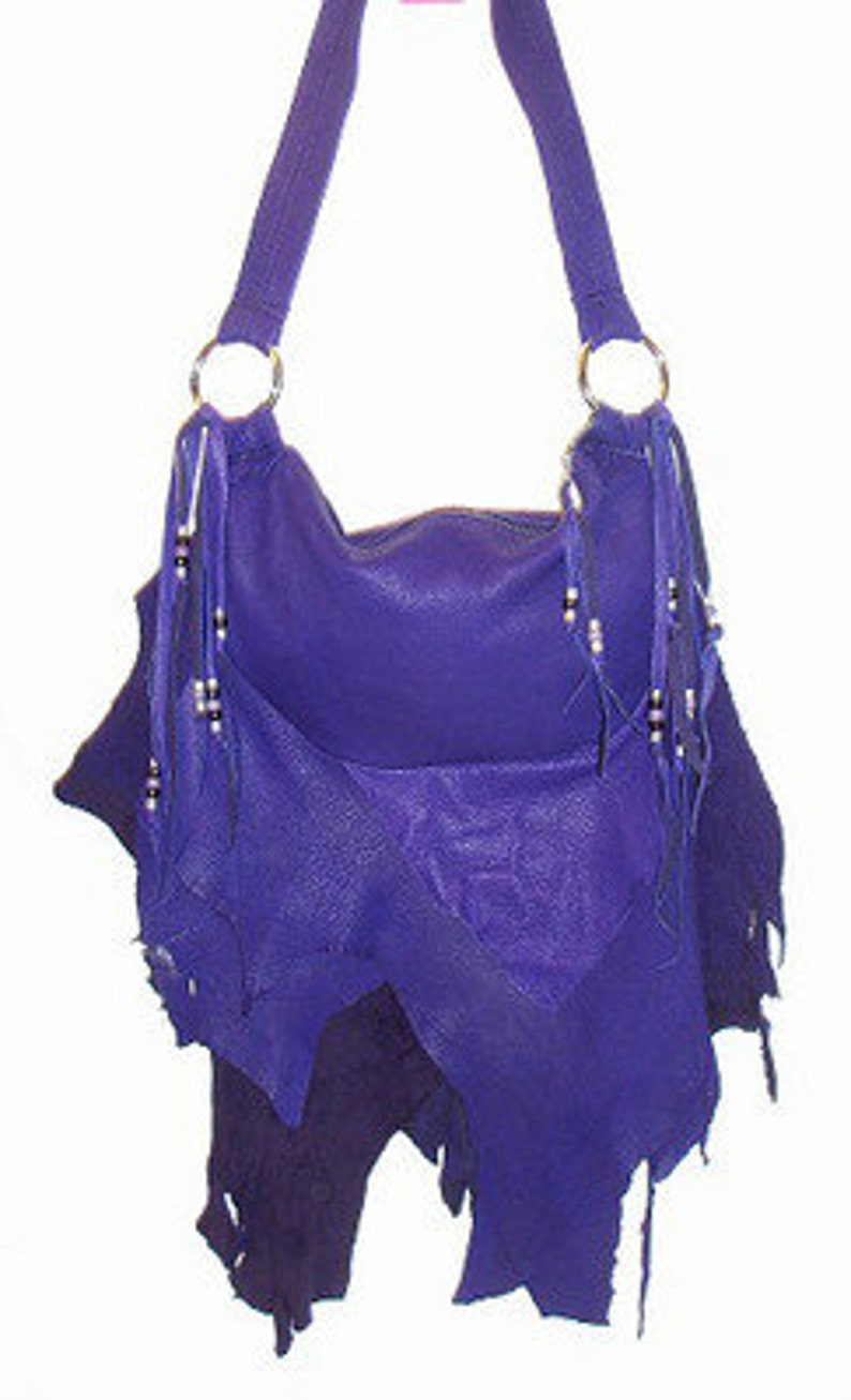 3c593825dd PURPLE Leather Handbag Fringe Deerskin PURPLE FLAIR Purse