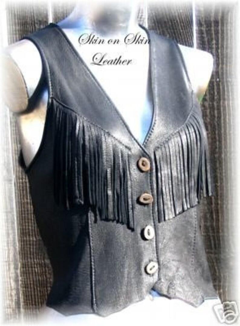 ef650b7f57 Piel con flecos chaleco de gamuza negro Hippie Retro estilo