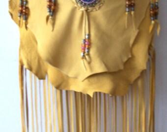 "Designer Leather Purse ""AZTEC GOLD"" Fringe Handbag Artisan Hippie Retro Beaded Bag Handmade by Debbie Leather"