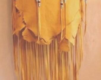 "Designer Leather Purse ""LORRIES BEST"" Fringe Handbag Artisan Hippie Retro Beaded Bag Handmade by Debbie Leather"