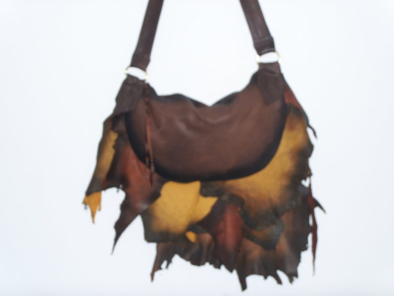 488323e76c Leather COMICON Purse Autumn Fire Ruffled Natural