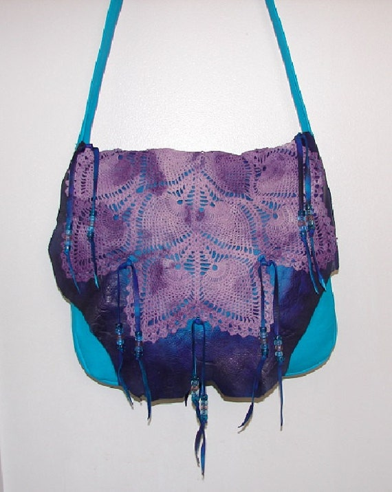 66cf6beccf ReADY to SHiP Leather Handbag TURQUOISE Purse Fringe Beaded