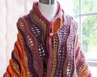 Autumn LEAVES Shawl/wrap -  Original Design Handmade Women Crochet Artwear Shawl/Warp  in Cranberry Crisp