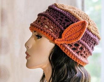 Autumn LEAVES HAT -  An Original Design Hand Crocheted Artwear Hat  in Cranberry Crisp -OOAK