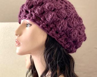 BOBBLEs HAT -  Original design women crochet bulky yarn warm fall/winter hat with bobbles stitch in Fig Purple