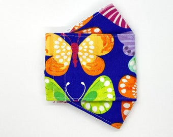 Modern colorful butterflies on bright blue background 3D mask, adjustable handmade cotton mask