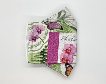 Orchid in bloom cards fitted 3D mask, handmade cotton mask - 3 layers, adjustable ear loop