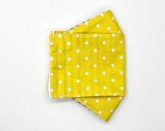 White polka dots on happy yellow background fitted 3D mask, handmade cotton mask - 3 layers, adjustable ear loop