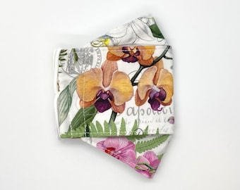Orchid in bloom garden fitted 3D mask, handmade cotton mask - 3 layers, adjustable ear loop