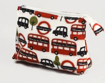Small Knitting Project Bag Bridesmaid Gift  London Bus Bag London Underground Zipper Bag Small Zipper bag Sock Knitting Bag Cosmetic Bag