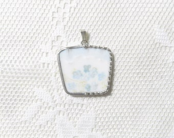 Broken China Jewelry Pendant Blue Floral