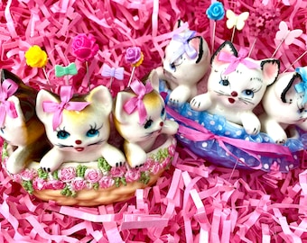 Vintage Kittens in a Basket Pincushion with pins and Gift Box..please CHOOSE Blue or Yellow.. Great Gifts .. Super Cute..LAST Batch!!