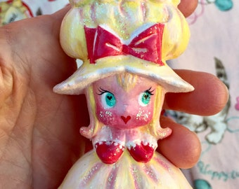 Pincushion.. Adorable Little Girl ..Sewing.. Quilting.. Valentines Day.. Sweet Gifts.. Kawaii.. Eye Candy.. Ooak.. Vintage