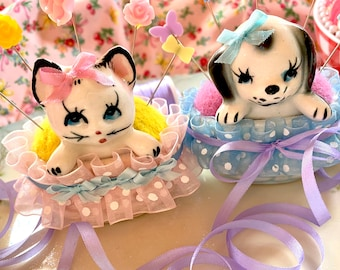 Pincushions.. Adorable Puppy OR Kitty.. Mothers Day.. Sweet Gifts.. Kawaii..sewing.. Quilting.. vintage.. Up Cycled.. ooak.. super cute!!