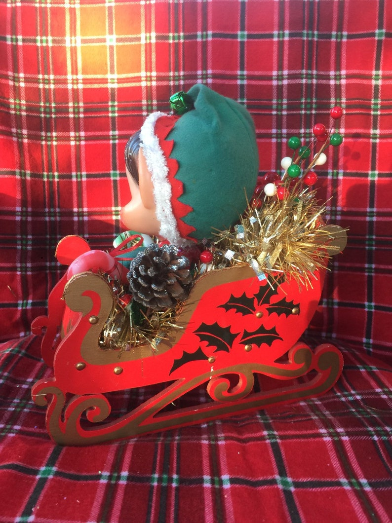 SALE...Christmas Centerpiece..Vintage Big Head Knee Hugger Elves With Sleigh and Xmas Tree and Holiday Trims..Super Cute and Ooak!!!