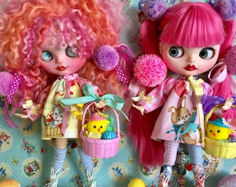 Blythe Bunny Dress with Pretty Basket Set.. Handmade and Ooak.. Super Cute..Kawaii.. Sweet Gifts.. Adorable.. Dolls Clothing.. Dollhouse