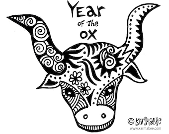 Year of the Ox Note Card Chinese New Year Ox Notecard