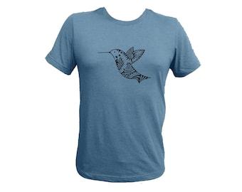Unisex Blue-Gray Hummingbird Adult  Tshirt PolyCotton Tee Small Medium or Large