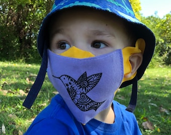 Kids Face Mask - Choose Color & Design - Lightweight Fabric Face Covering with Ear Slots