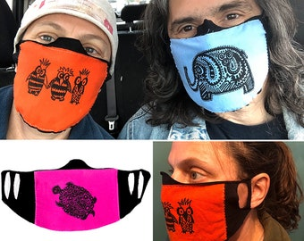 Face Mask - Choose Color & Design - Lightweight Fabric Face Covering with Ear Slots