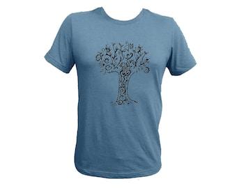 Unisex Tree Blue-Gray Adult Tshirt PolyCotton Tee Small Medium Large