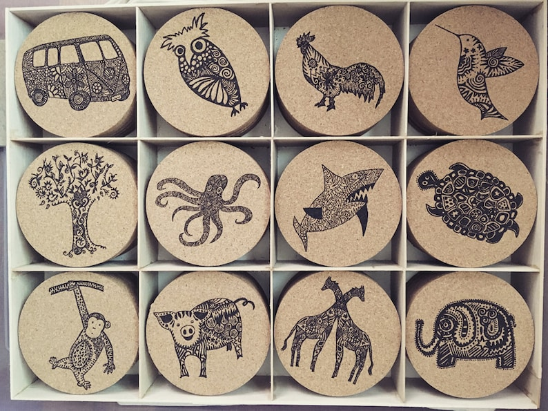 Cork Coasters 4 with Laser Burned Karmabee Design image 0