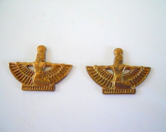 Pair Vintage Brass Egyptian Charms Stampings