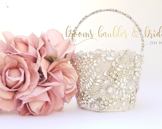 White Brooch and Bling Flower Girl Basket - The Sarayah