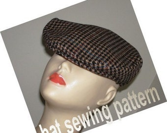 Flat cap driving hat ivy cap medium size SEWING HAT PATTERN- Micky Flat Driving Cap