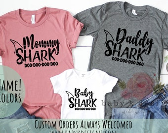 efe1d95d75f80 Matching Family Shirts,Mommy and Me,Mommy Shark,Daddy, Baby Shark Shirt,Mama  Shark,Mom Shirt Baby Girl,Pregnancy Tee,Shower Gift Baby Onesie