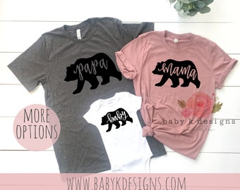 00c1df423 Mama Bear Papa Bear Baby Bear Shirts, Mommy and Me, Matching Shirt,  Matching Family Outfit,Baby Girl, Pregnancy Tee,Shower Gift Baby Onesie