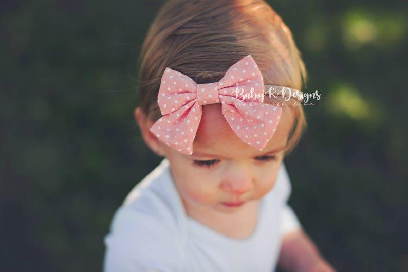 Infant Bow Fabric Bow Newborn Headband Baby Girl Bow Toddler Headband Baby Girl Headband Baby Headband Nylon Headband 3 Inch Bow
