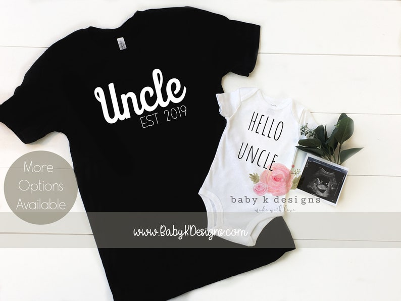 21b93534066c5 HELLO UNCLE Pregnancy Announcement Personalized Onesie Gift, Reveal,  Surprise Revel, Father's Day Girt, Men's Shirt, Baby Onesie