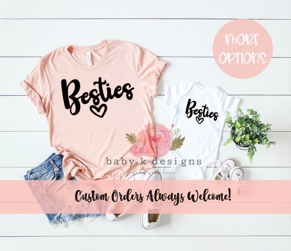 Mommy and Me, Besties, Matching Shirts, BFF Shirt, Mom tee, Mama and Me  Set,Baby Shower Gift, Baby Onesie Women T-Shirt Mommy and Me Shirt