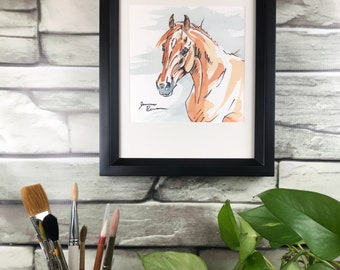 "Framed original horse art - ""Sorrel Horse with Blue"" - watercolor and ink painting"