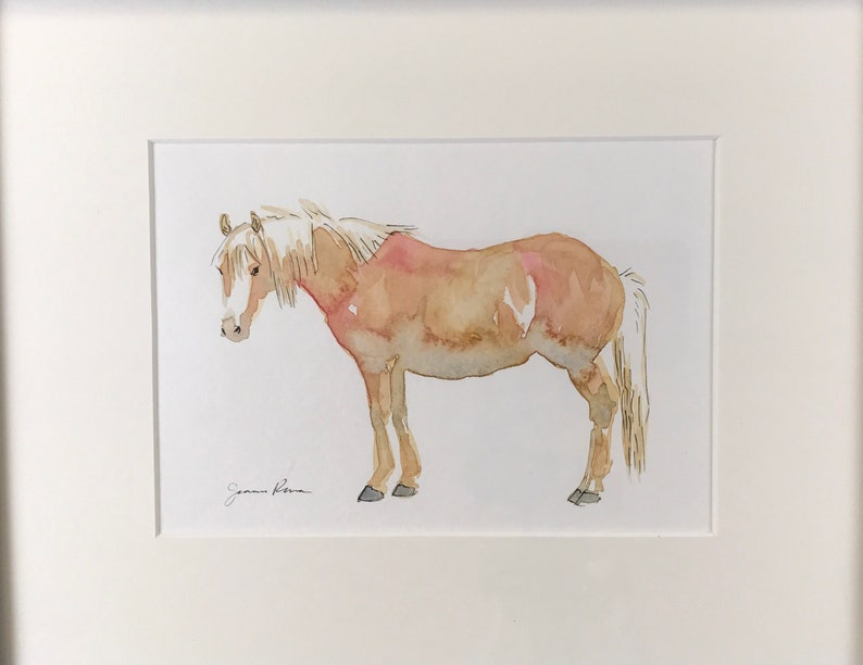 8x10 black frame Fuzzy Palomino Horse art original framed watercolor /& ink painting horse painting horse watercolor pony